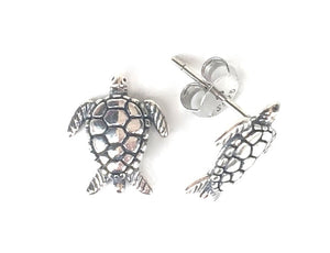 SMALL TURTLE  STUD OXIDIZED STERLING SILVER EARRINGS