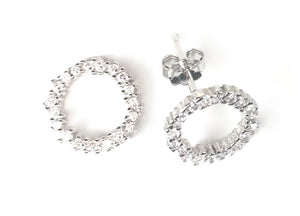 DECORATED CIRCLE STUD PAVE CZ STERLING SILVER EARRINGS