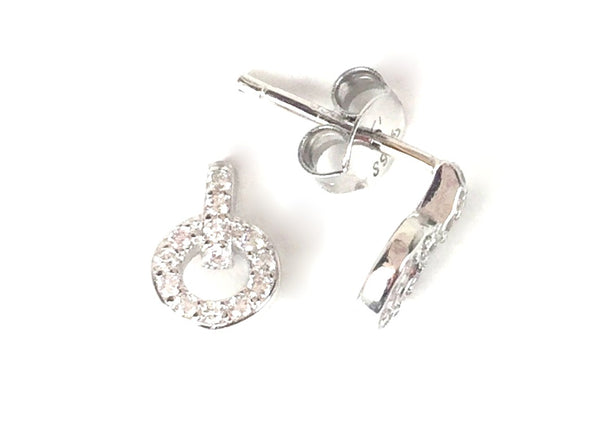 PETITE BAR AND CIRCLE STUD PAVE CZ STERLING SILVER EARRINGS