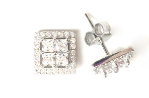 SQUARE IN SQUARE STUD PAVE CZ STERLING SILVER EARRINGS