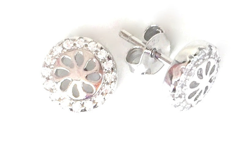 DECORATED WHEEL STUD PAVE CZ STERLING SILVER EARRINGS