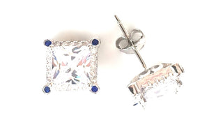 DECORATED SQUARE STUD PAVE CZ STERLING SILVER EARRINGS