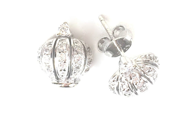 CROWN PAVE CZ STERLING SILVER EARRINGS