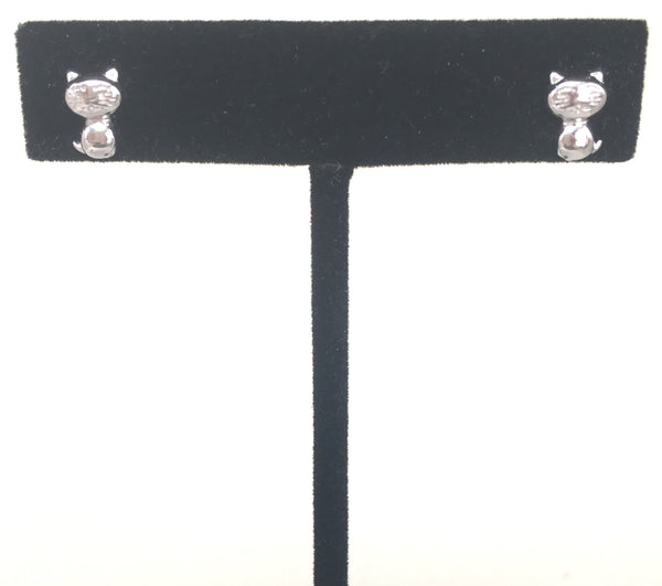 SMALL CAT STUD STERLING SILVER EARRINGS
