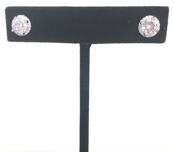 CLASSIC ROUND PAVE CZ STERLING SILVER EARRINGS