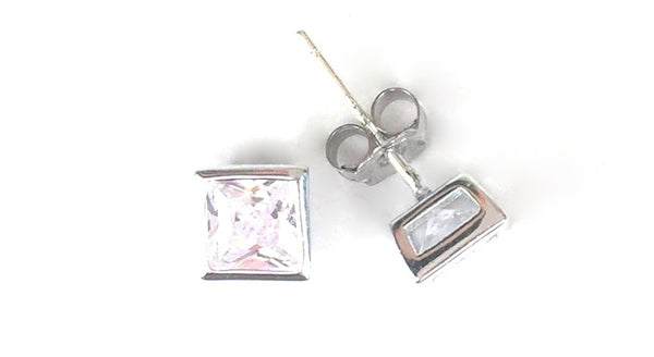 SQUARE BEZEL SET CLEAR CZ STUD STERLING SILVER EARRINGS