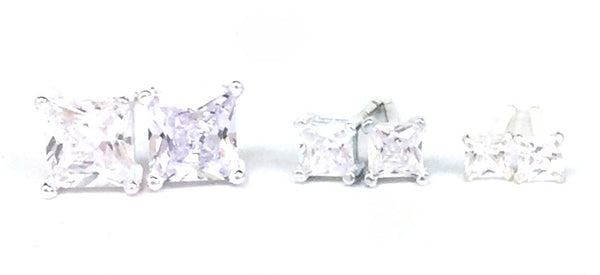 FOUR-CLAW SQUARE CLEAR CZ STUD STERLING SILVER EARRINGS