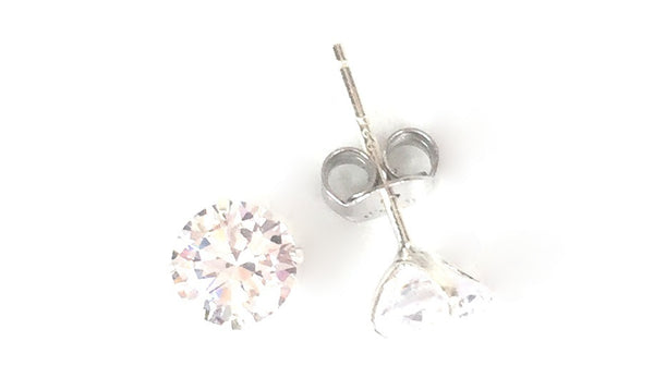 FOUR-CLAW ROUND CLEAR CZ STUD STERLING SILVER EARRINGS