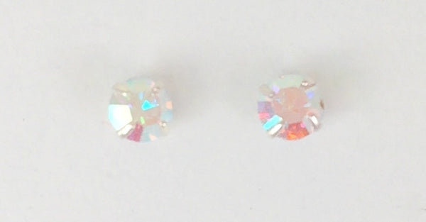 "PETITE FOUR-CLAW ROUND COLOR CRYSTAL 0.08"" STUD STERLING SILVER EARRINGS"