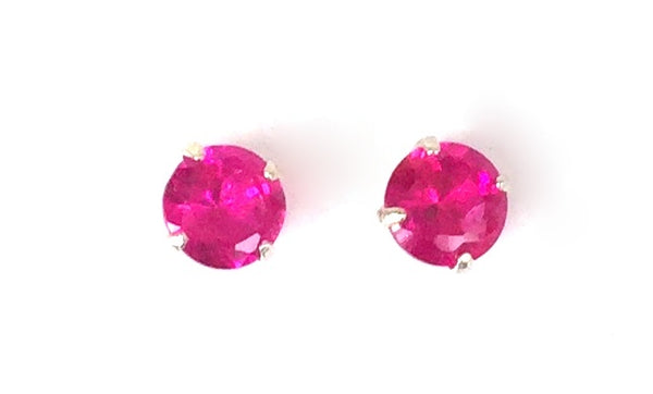 "PETITE FOUR-CLAW ROUND COLOR CRYSTAL 0.13"" STUD STERLING SILVER EARRINGS"