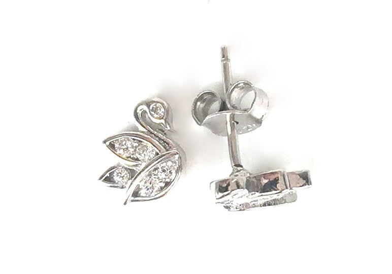 SMALL SWAN STUD PAVE CZ STERLING SILVER EARRINGS