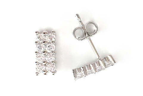 SHORT BAR STUD PAVE CZ STERLING SILVER EARRINGS