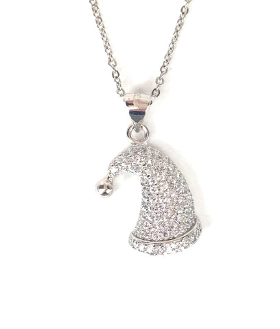 SANTA HAT PAVE CZ STERLING SILVER NECKLACE
