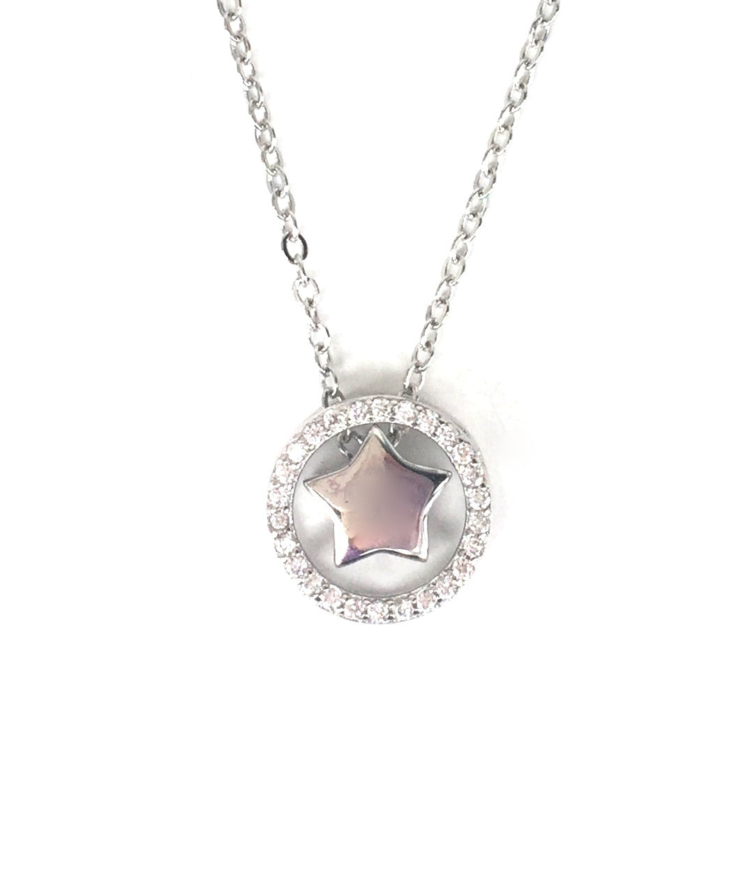 STAR IN CIRCLE PAVE CZ STERLING SILVER NECKLACE