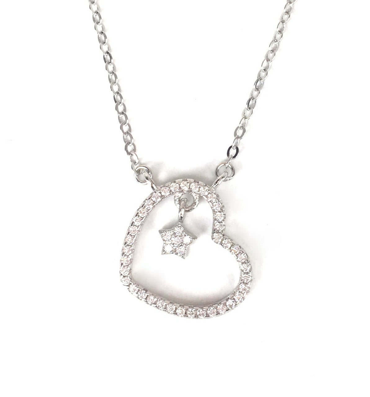STAR IN HEART PAVE CZ STERLING SILVER NECKLACE