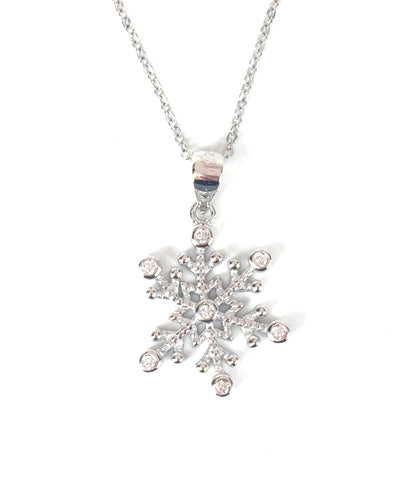SNOWFLAKE PAVE CZ STERLING SILVER NECKLACE