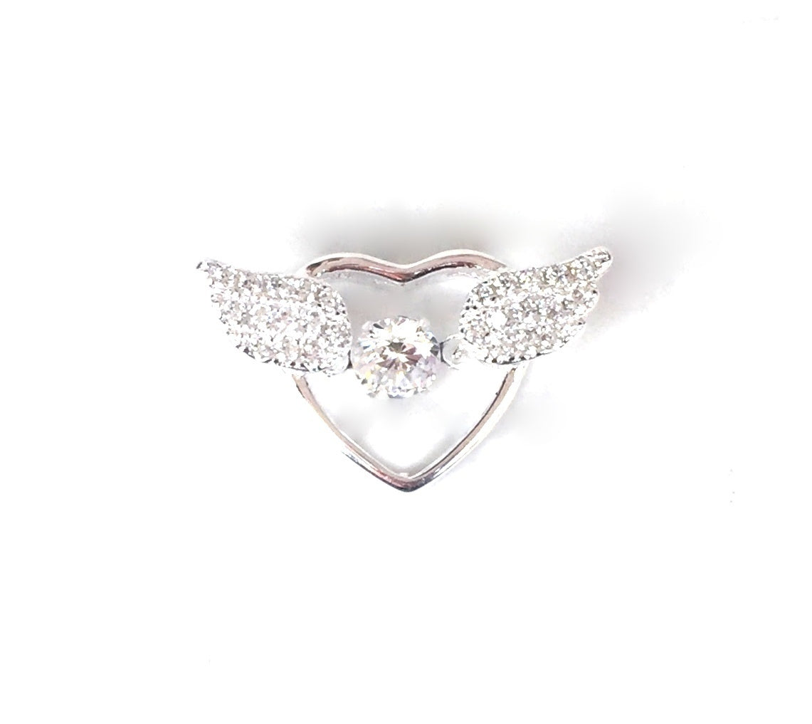 ANGEL WINGS WITH HEART PAVE CZ STERLING SILVER PENDANT