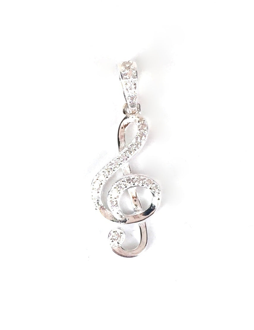 MUSIC SYMBOL PAVE CZ STERLING SILVER PENDANT