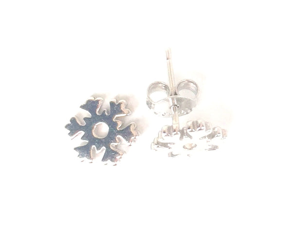 SMALL SNOWFLAKE STUD STERLING SILVER EARRINGS