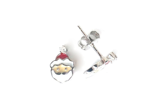 SMALL SANTA CLAUS STUD STERLING SILVER EARRINGS