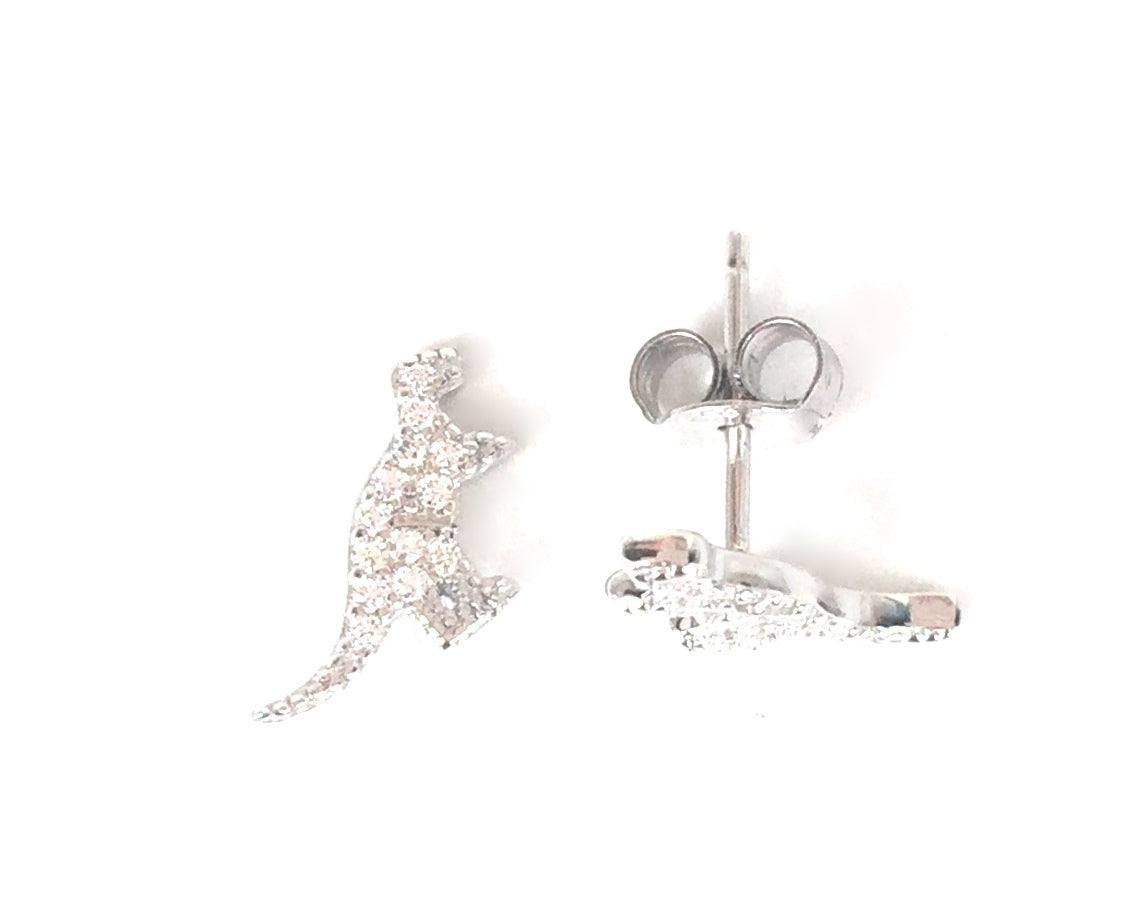 SMALL DINOSAUR STUD PAVE CZ STERLING SILVER EARRINGS