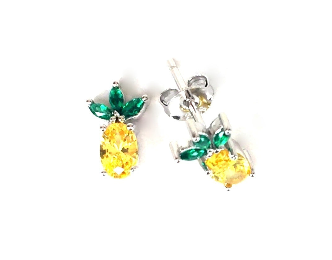 SMALL PINEAPPLE STUD CLEAR CZ STERLING SILVER EARRINGS