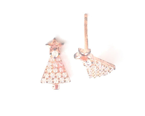 ROSE GOLD CHRISTMAS TREE STUD PAVE CZ STERLING SILVER EARRINGS