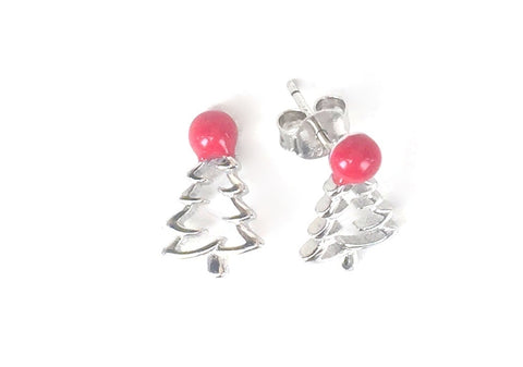 CHRISTMAS TREE  STUD STERLING SILVER EARRINGS