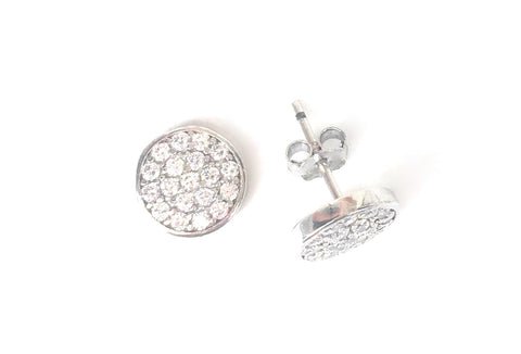 SPARKLING DISC STUD PAVE CZ STERLING SILVER EARRINGS