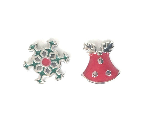CHRISTMAS THEME  STUD STERLING SILVER EARRINGS