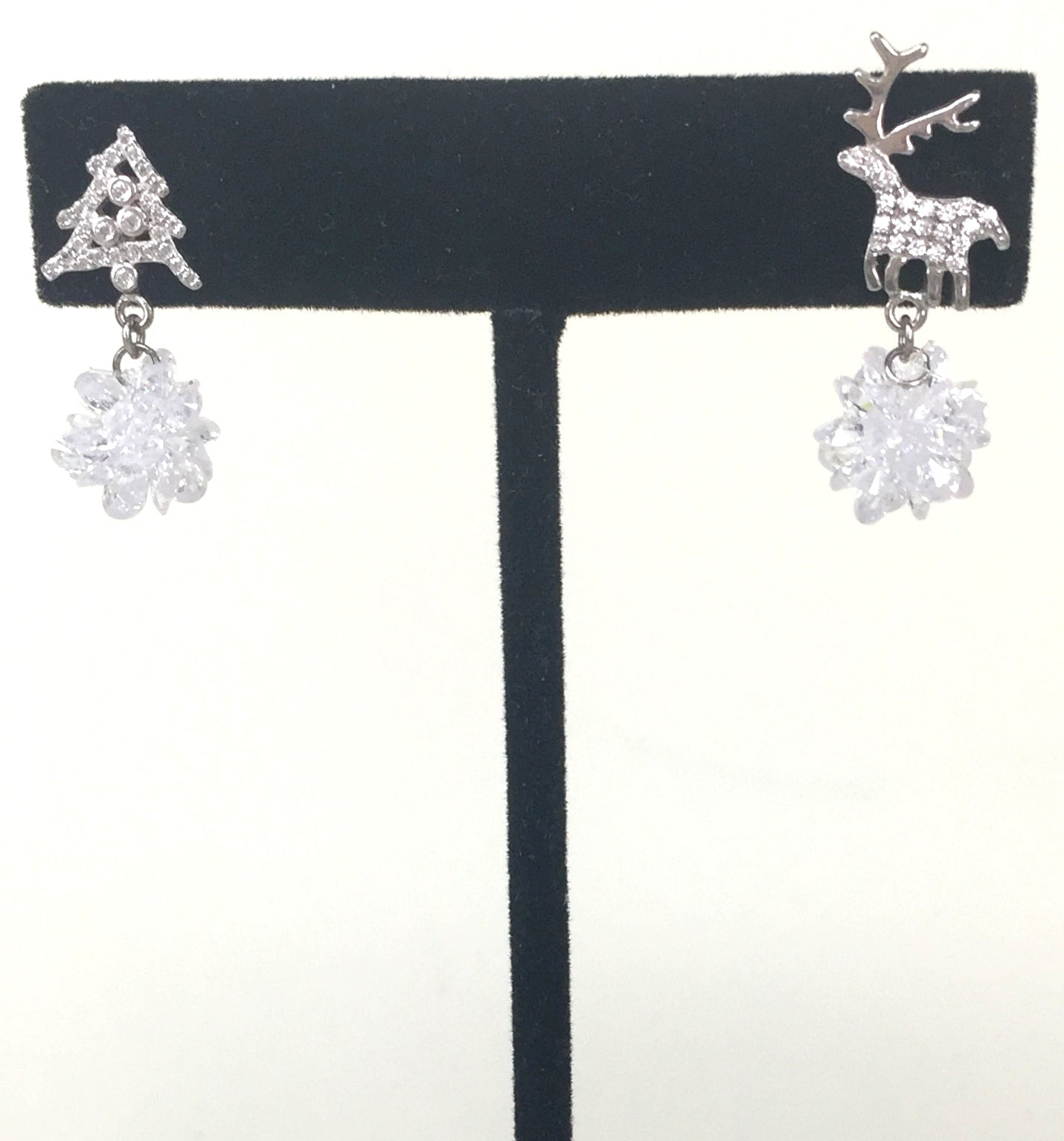 CHRISTMAS TREE AND REINDEER DROPPING PAVE CZ STERLING SILVER EARRINGS