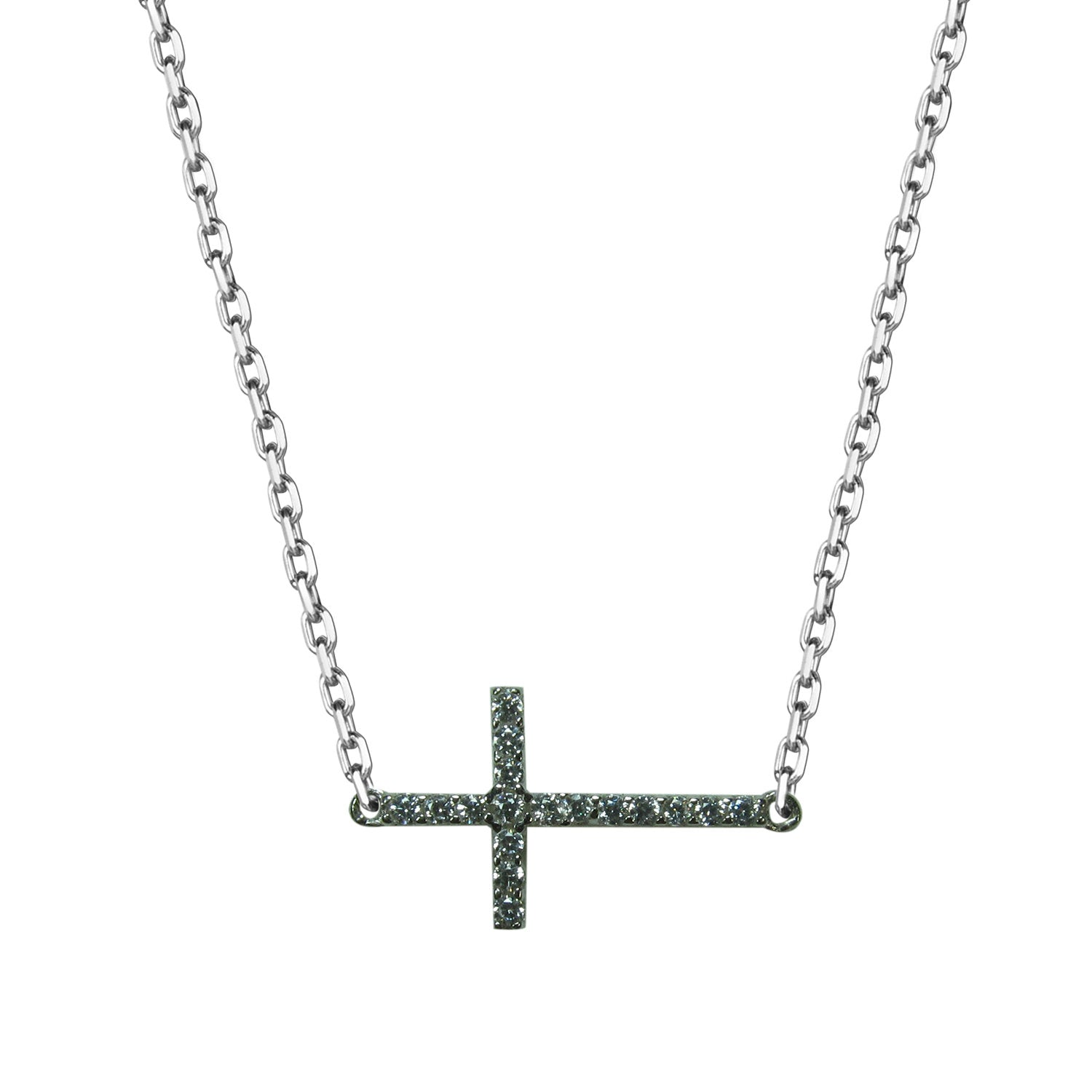 SIDE-WAY CROSS PAVE CZ STERLING SILVER NECKLACE