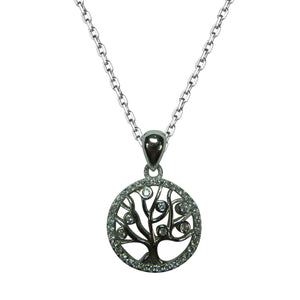 SPARKLING TREE OF LIFE STERLING SILVER NECKLACE