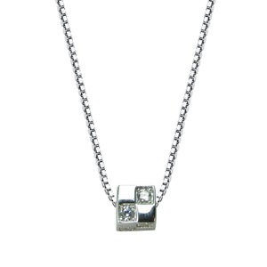 LITTLE CUBE PAVE CZ STERLING SILVER NECKLACE