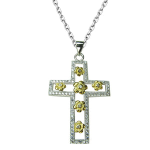 TWO TONE CROSS PAVE CZ STERLING SILVER NECKLACE