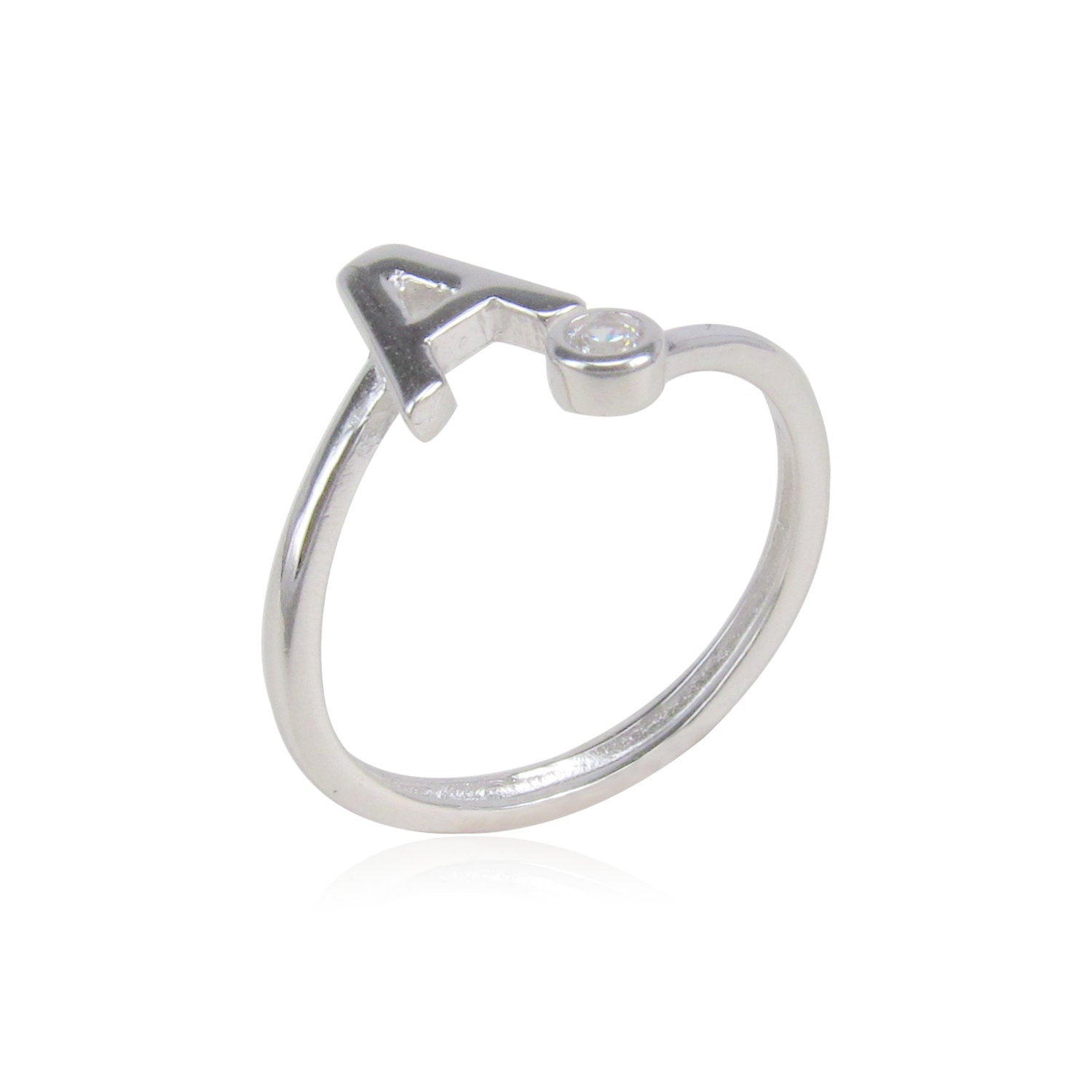 INITIAL STERLING SILVER RING