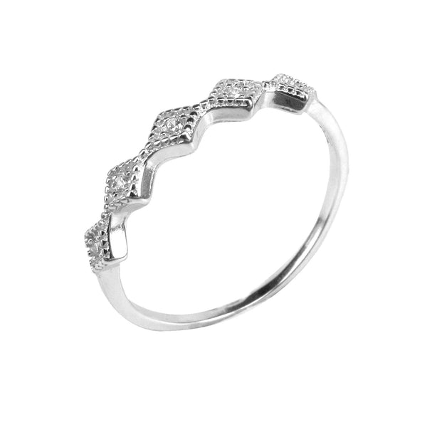 FIVE MINI DIAMOND-SHAPE PAVE CZ STERLING SILVER RING
