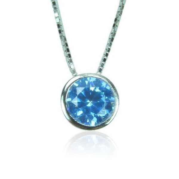 BIRTHSTONE STERLING SILVER NECKLACE