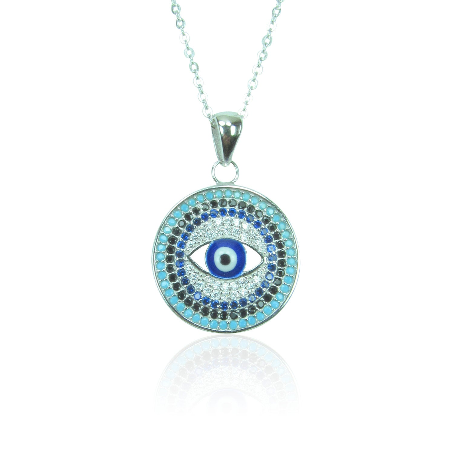 EVIL EYE DISK PAVE CZ STERLING SILVER NECKLACE