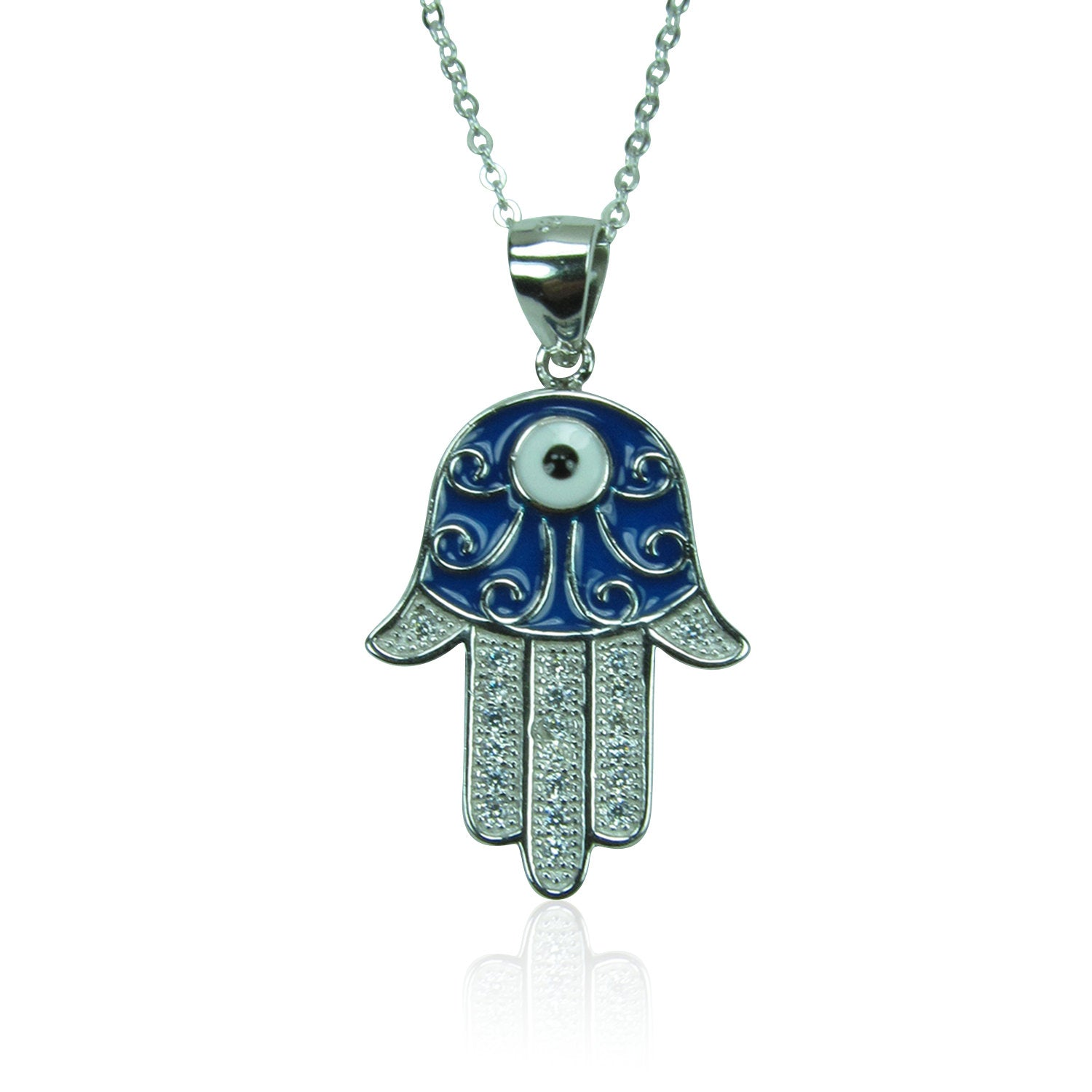 HAMSA HAND 2 PAVE CZ STERLING SILVER NECKLACE