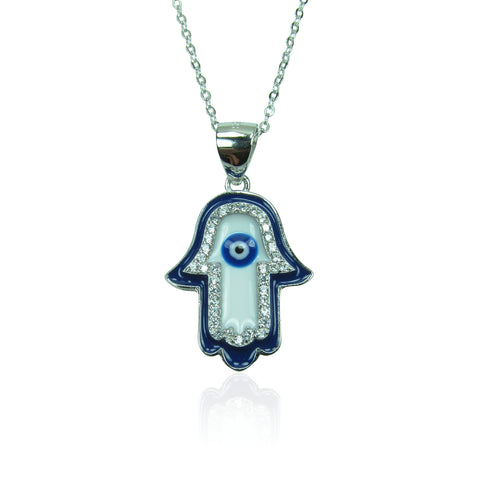 HAMSA HAND PAVE CZ STERLING SILVER NECKLACE
