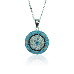 ROUND EYE DISK TURQUOISE STERLING SILVER NECKLACE