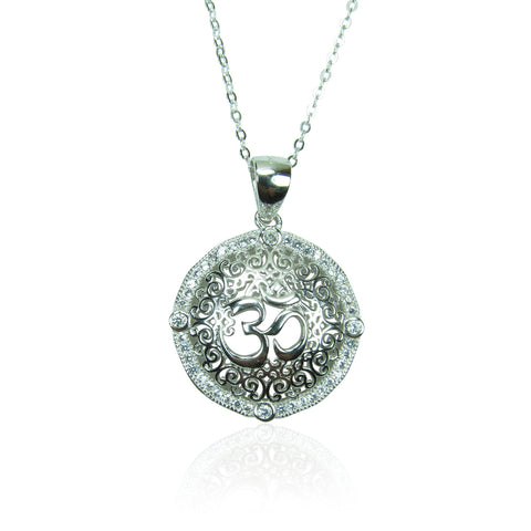 ELEGANT OM STERLING SILVER NECKLACE