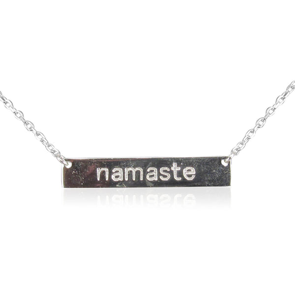 NAMASTE BAR STERLING SILVER NECKLACE