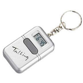 Silver Talking Clock Keychain
