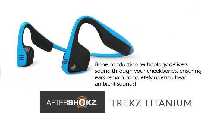 New AfterShokz Treks Titanium bone conduction wireless stereo headphones.