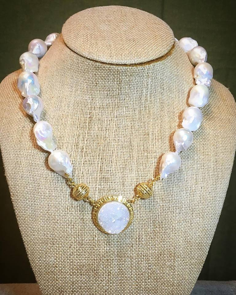 Baroque Pearl Necklace with Magnetic Druzy Enhancer SOLD SEPARATELY