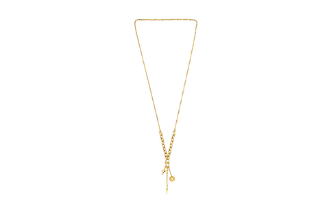 Gold Drip Charm Necklace
