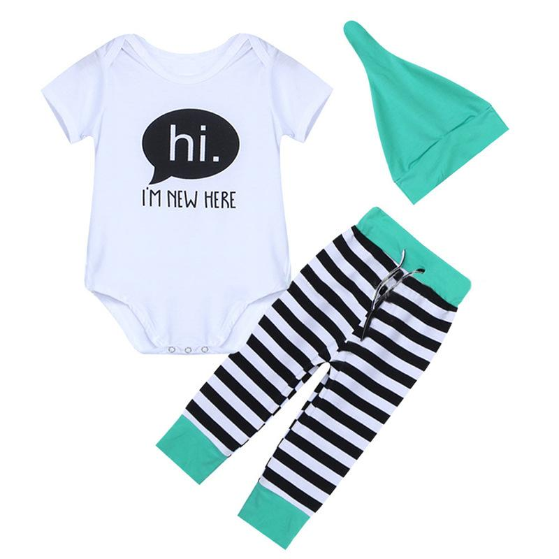 3-piece Letter Short-sleeve Bodysuit, Pants and Hat Set - childbling