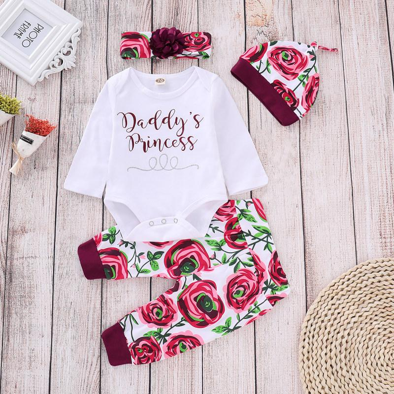 4-piece Cozy Letter Bodysuit, Floral Pants Set with Headband and Hat - childbling